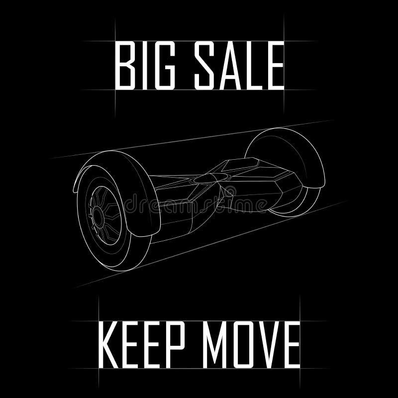 Contorni GyroScooter di disegno, grande vendita delle tecnologie moderne royalty illustrazione gratis
