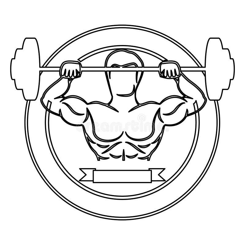 contorni il confine circolare con l'uomo del muscolo pesi di sollevamento ed etichetta di un disco illustrazione vettoriale