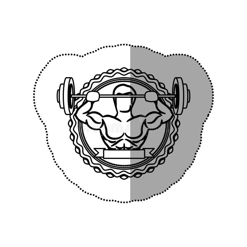 contorni il confine dell'autoadesivo con l'uomo del muscolo pesi di un disco ed ombreggiatura di sollevamento dell'etichetta royalty illustrazione gratis