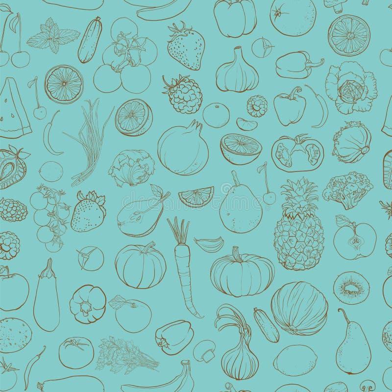 contorni il disegno delle verdure, i frutti, bacche illustrazione vettoriale