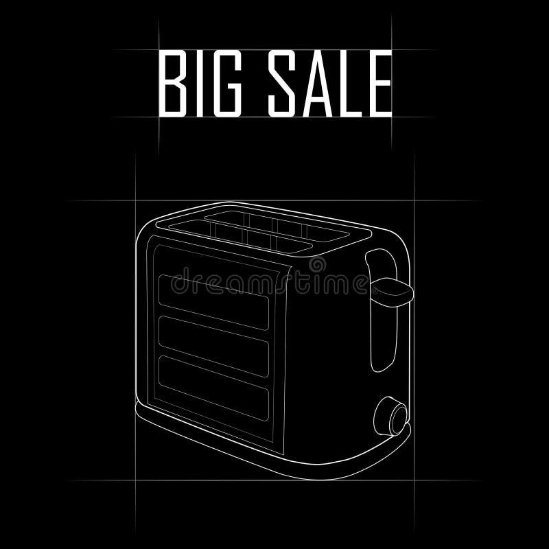 Contorni il disegno di un tostapane, grande vendita illustrazione vettoriale