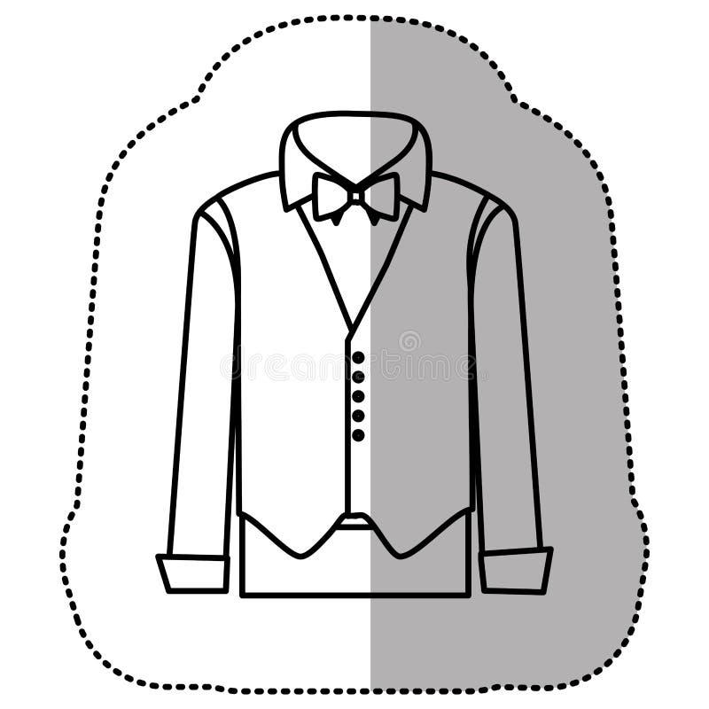 contorni il vestito dell'autoadesivo con la camicia, il panciotto ed i pantaloni illustrazione di stock