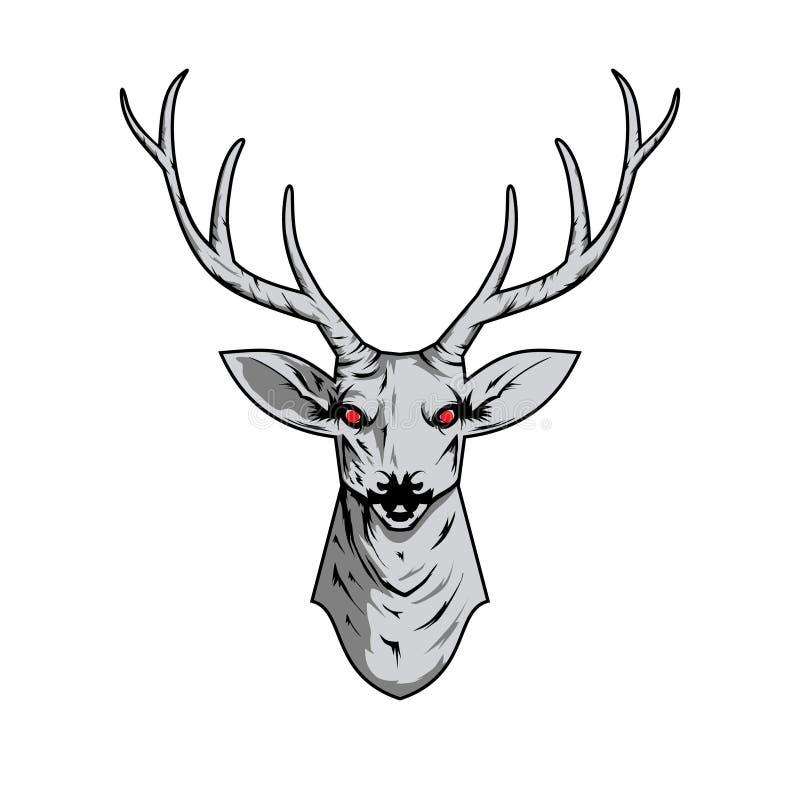 Contorni l'illustrazione di un cranio dei cervi con i corni con il modello di boho illustrazione di stock