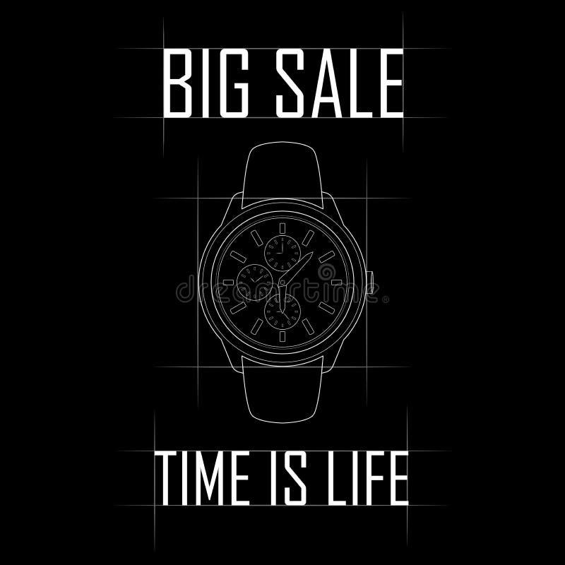 Contorni l'immagine degli orologi costosi, grande vendita illustrazione di stock
