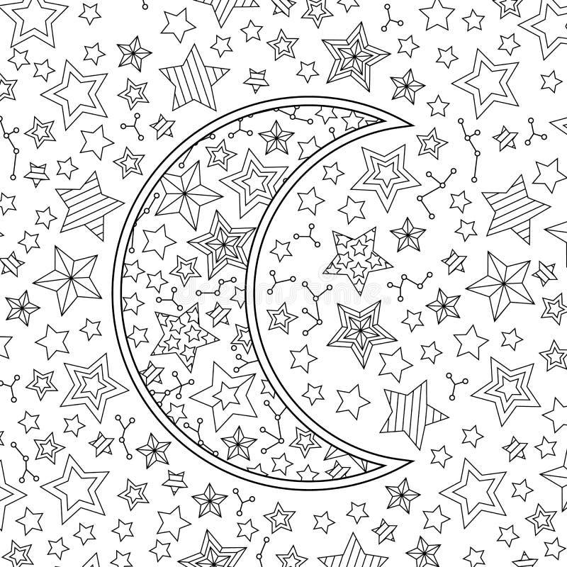 Cielo Stellato Da Colorare Per Bambini.Contorni L Immagine Della Mezzaluna Della Luna In Cielo Stellato