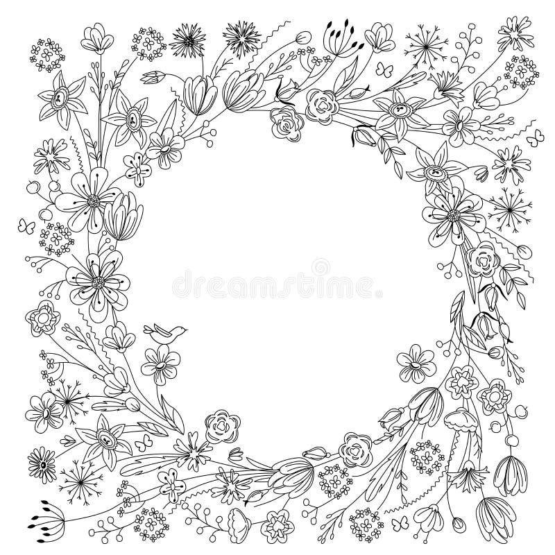 Contorni la corona con i rami sboccianti stilizzati su bianco Colore in bianco e nero illustrazione di stock