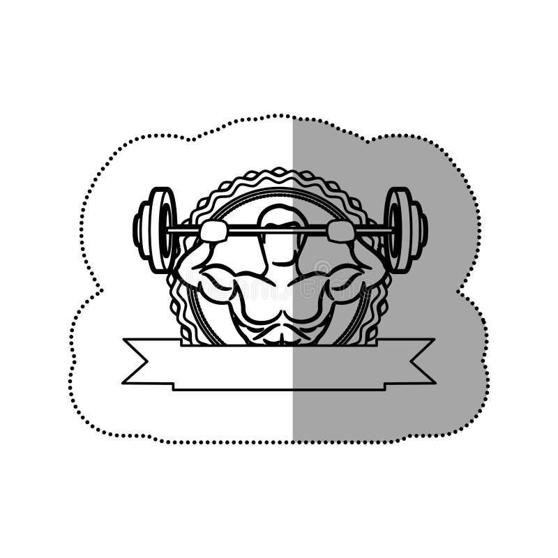 contorni la struttura dell'autoadesivo con l'uomo del muscolo pesi di un disco ed ombreggiatura di sollevamento dell'etichetta royalty illustrazione gratis