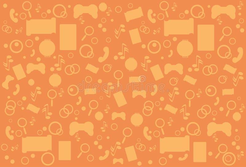 Contorno abstracto moderno de la opinión de ángulo superior de la aplicación móvil sobre fondo anaranjado libre illustration
