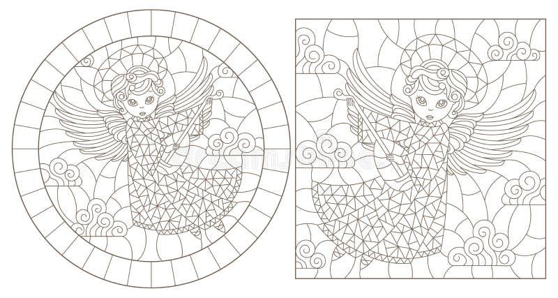 Contorno ajustado com ilustrações do vitral com anjos, do círculo e da imagem retangular, contornos escuros em um fundo branco ilustração royalty free