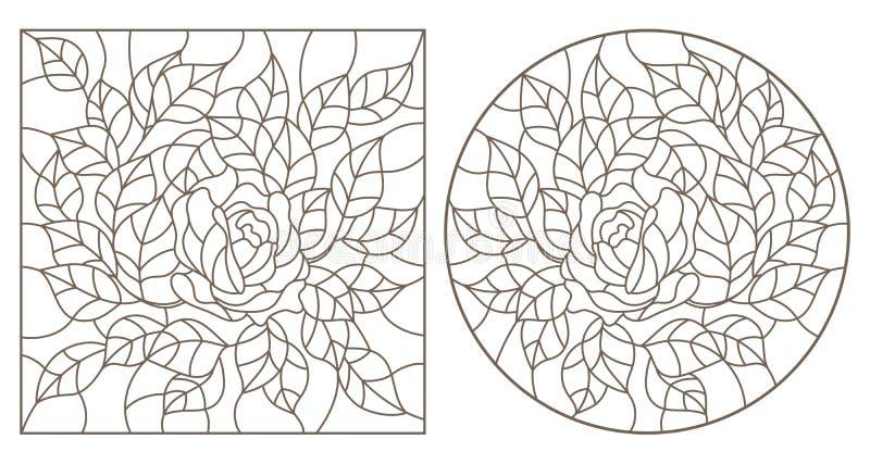 Contorno ajustado com ilustrações do vitral Windows com flores, rosas e folhas, contornos escuros no fundo branco ilustração royalty free