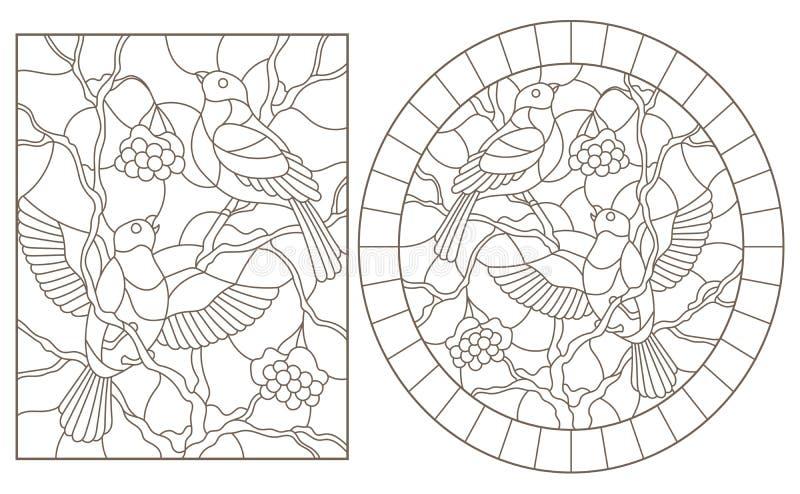 Contorno ajustado com ilustrações do vitral Windows com os dom-fafe que sentam-se nos ramos da cinza de montanha coberto de nev ilustração royalty free