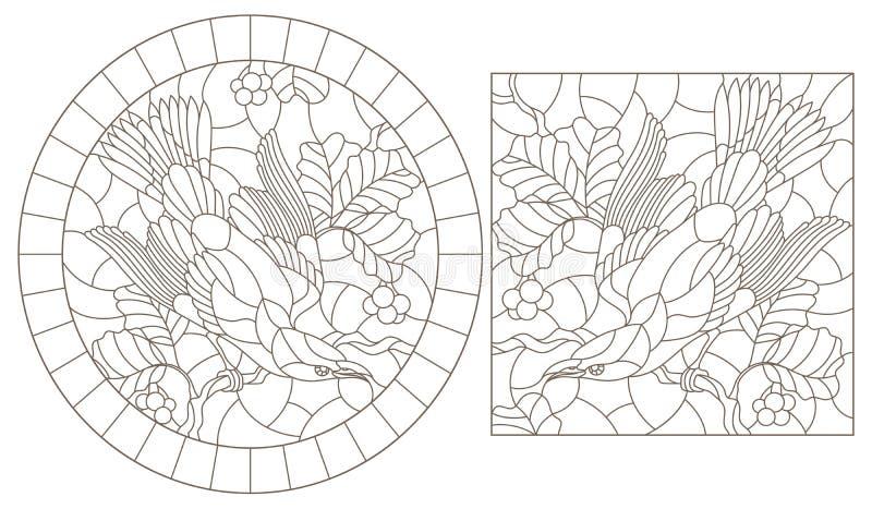 Contorno ajustado com ilustrações do vitral Windows com pássaros em um fundo das folhas e das bagas, contornos escuros em um whi ilustração royalty free