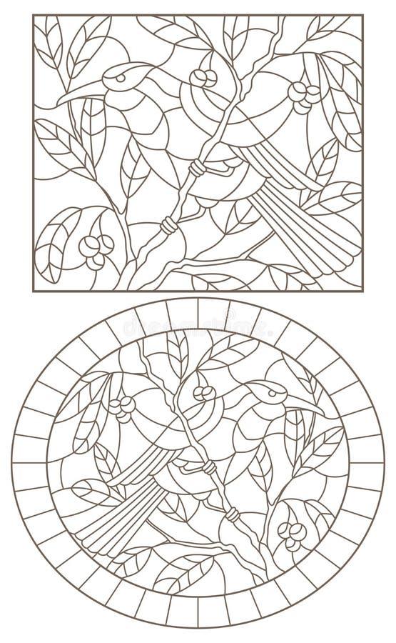 Contorno ajustado com ilustrações do vitral Windows com pássaros em um fundo das folhas e das bagas, contornos escuros em um whit ilustração do vetor