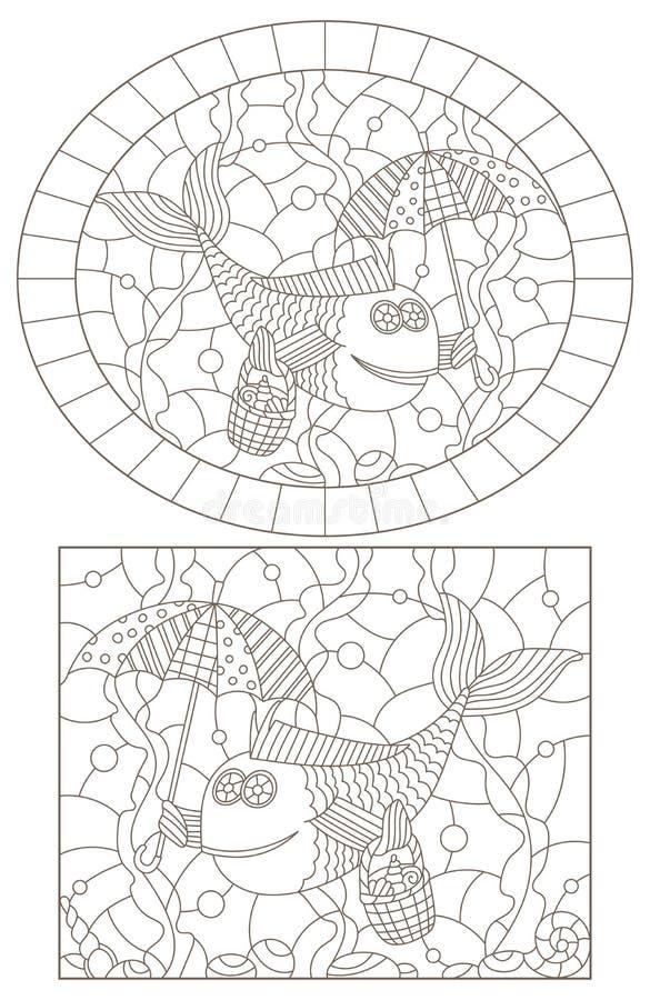 Contorno ajustado com ilustrações do vitral Windows com peixes engraçados, contornos escuros em um fundo branco ilustração do vetor