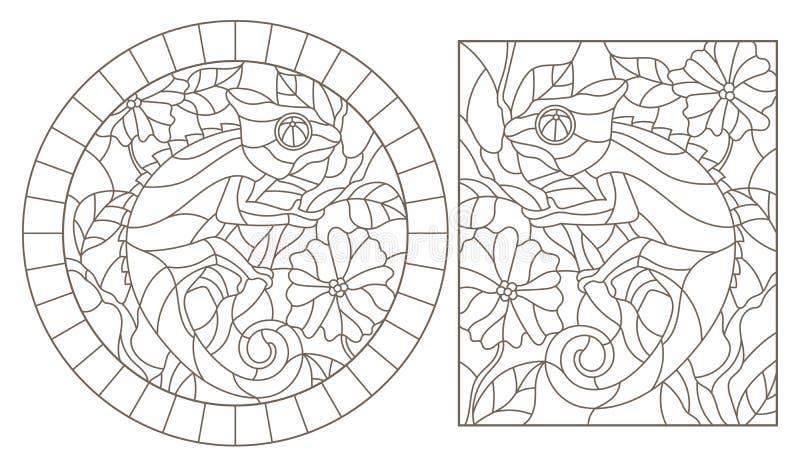 Contorno ajustado com ilustrações com os camaleões no fundo dos ramos de uma planta de florescência, contornos escuros em um back ilustração royalty free