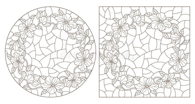 Contorno ajustado com ilustra??es do vitral Windows com cores encaracolados, do c?rculo e da imagem retangular, contornos escuros ilustração stock