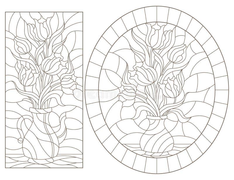 Contorno con ilustraciones de cristales manchados Ventanas con vida fija, jarrones con flores de tulipán, contornos oscuros sobre libre illustration