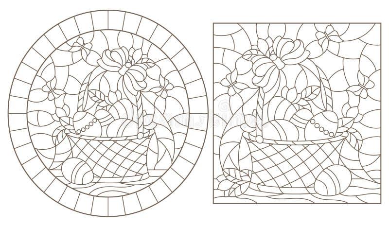 Contorno con ilustraciones de vidrios manchados Ventanas con cestas de Pascua con huevos y flores, contornos oscuros sobre una es ilustración del vector