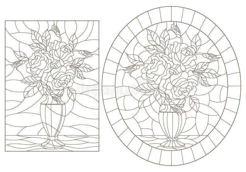 Contorno con ilustraciones de vidrios manchados Ventanas con vida fija, jarrones con flores de rosa, contornos oscuros en una esp libre illustration
