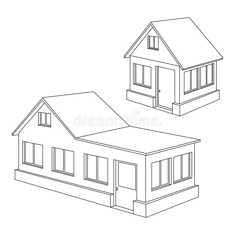 Contorno da casa de apartamento. ilustração stock