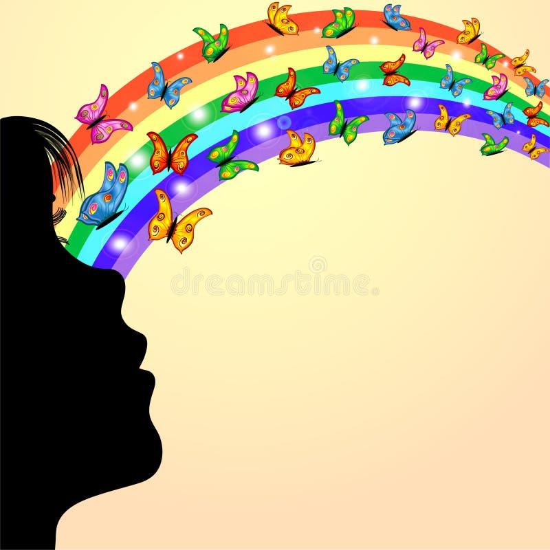 Contorno da menina, das borboletas e do arco-íris ilustração stock
