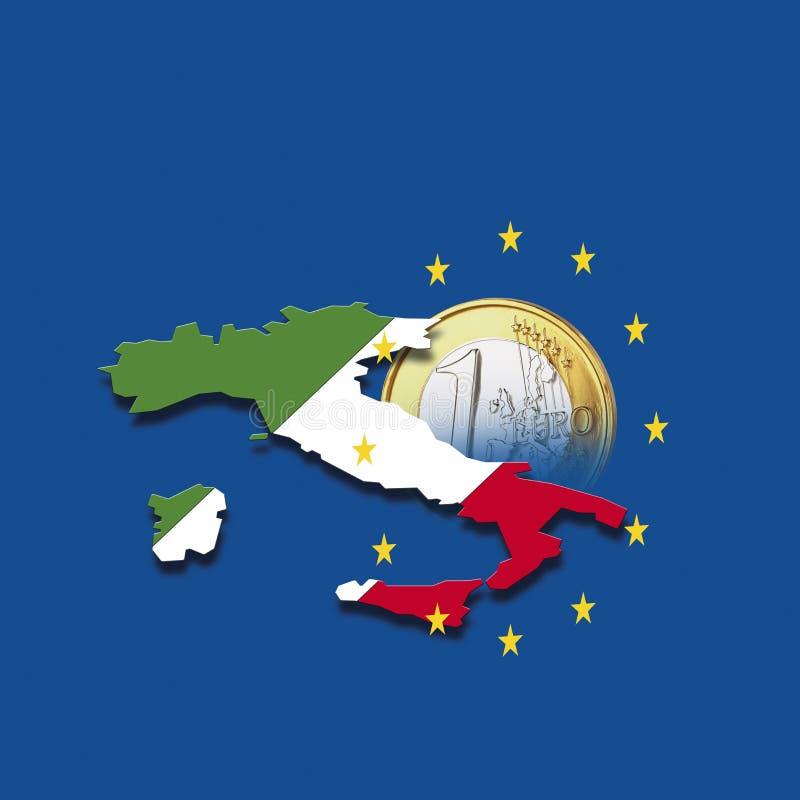 Contorno de Italia con las estrellas de la unión europea y de la moneda euro contra el fondo azul, compuesto digital ilustración del vector