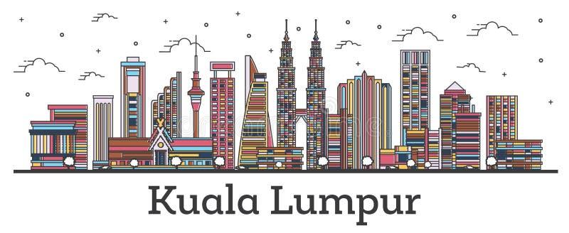 Contorno de Kuala Lumpur na Malásia, linha do horizonte com prédios coloridos isolados em branco ilustração royalty free