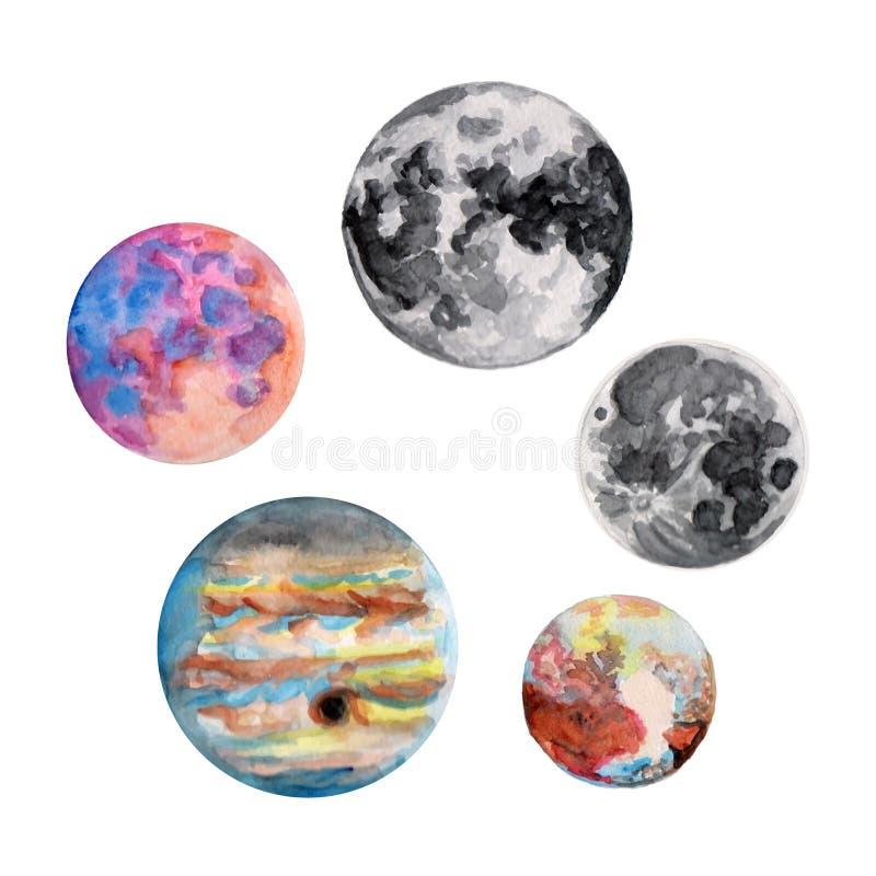 Contorno de la acuarela del planeta de la luna Conjunto de ilustraciones ilustración del vector