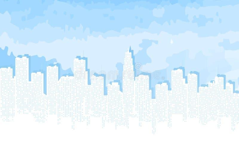 contorno de la ciudad contra el cielo azul libre illustration