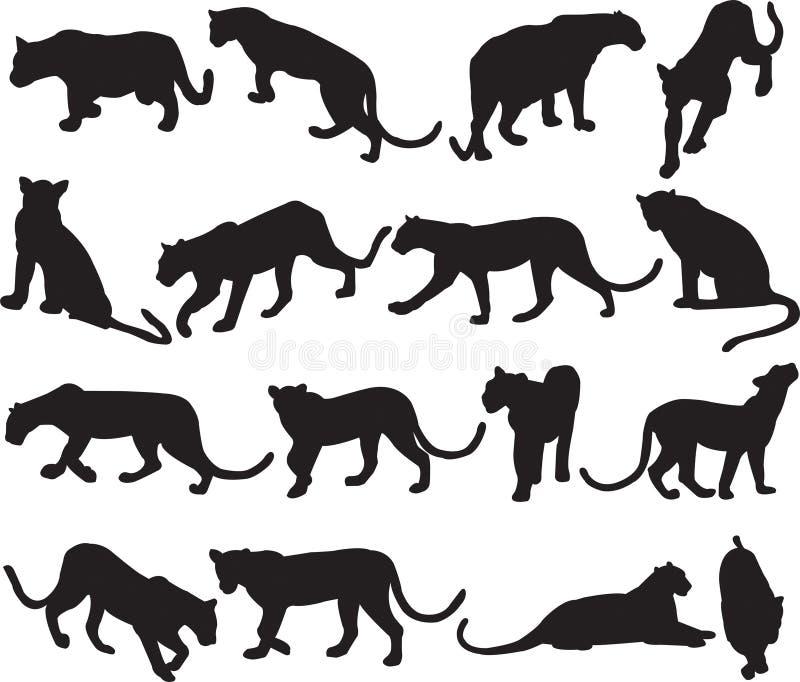 Contorno de la silueta del leopardo o de la pantera ilustración del vector