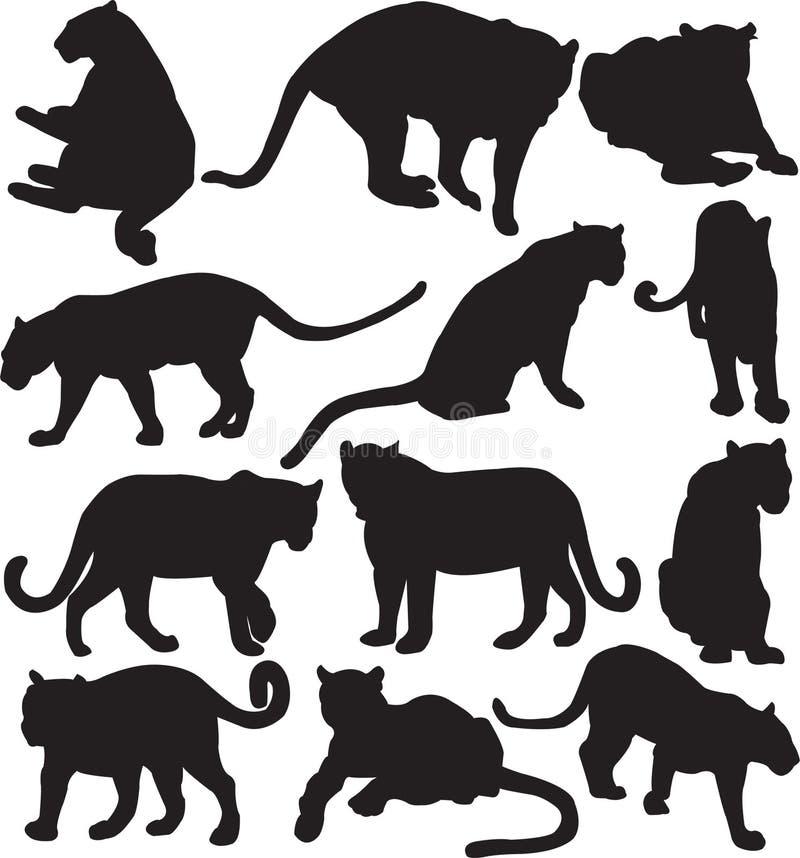 Contorno de la silueta del leopardo o de la pantera stock de ilustración