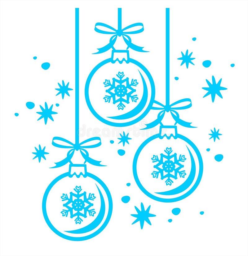Contorno de las bolas de la Navidad stock de ilustración