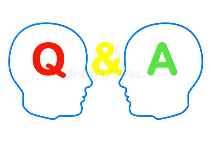 Contorno de las cabezas con las muestras de la pregunta y de la respuesta ilustración del vector