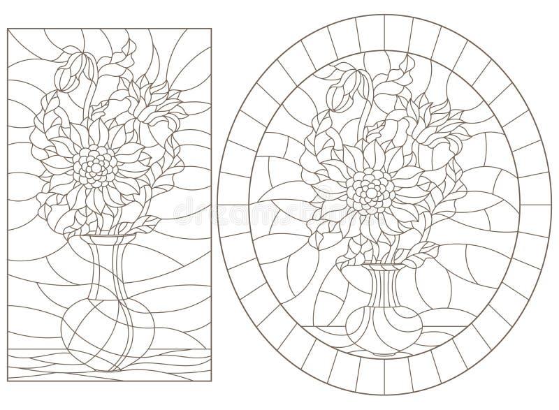 Contorno decorado con ilustraciones de vidrios vidriados Ventanas con vida fija, jarrones con flores de girasol, contornos oscuro libre illustration