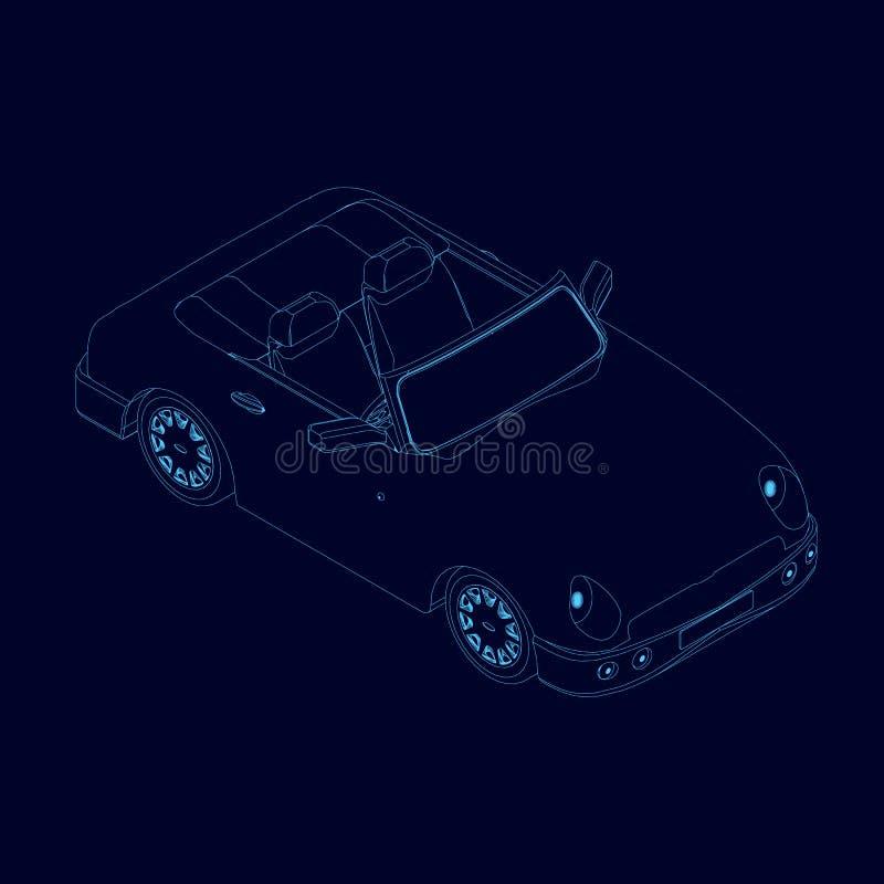 Contorno del cabriolet dell'automobile delle linee blu su un fondo scuro Vista isometrica Illustrazione di vettore illustrazione vettoriale