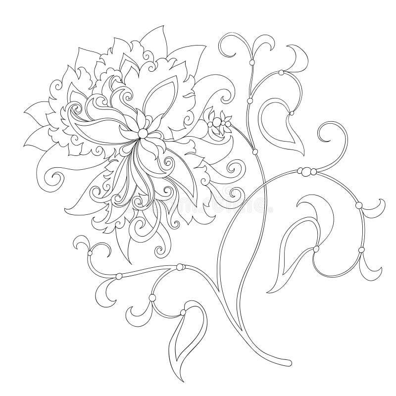 Contorno del fiore di fantasia royalty illustrazione gratis