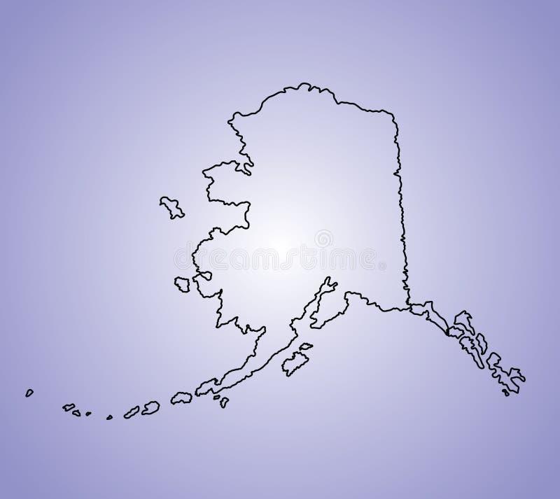 Contorno del mapa de Alaska stock de ilustración