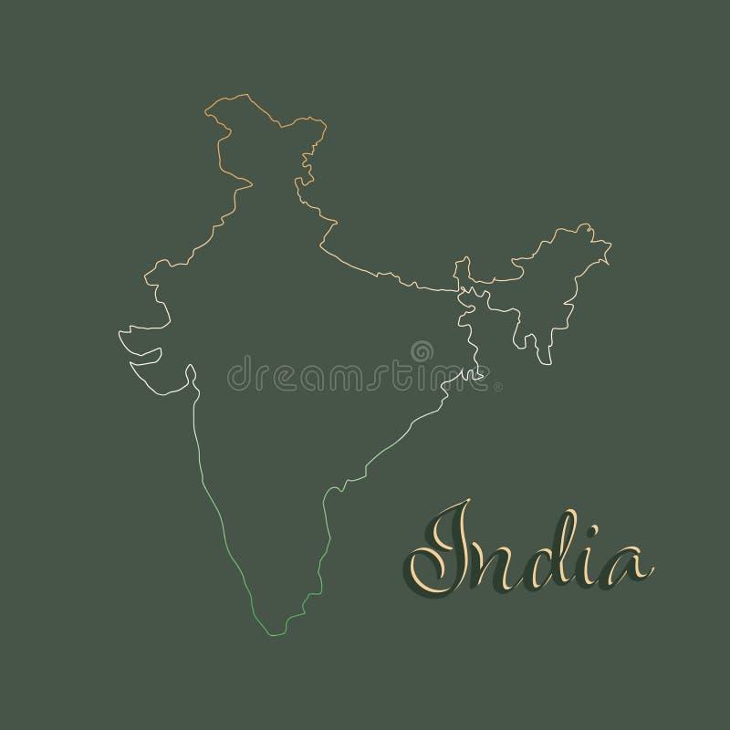 Contorno del mapa de la India en fondo gris Mapa de la India en colores nacionales en fondo negro contorno de la pendiente con el stock de ilustración
