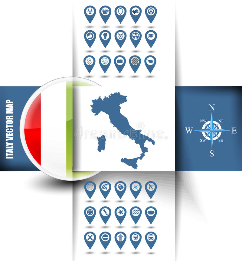 Contorno della mappa dell'Italia con le icone di GPS illustrazione di stock