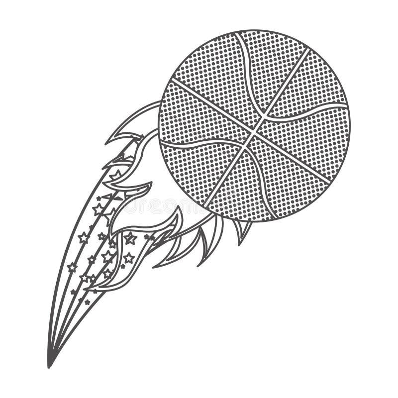 contorno di gradazione di grigio con la fiamma olimpica con la palla di pallacanestro illustrazione di stock