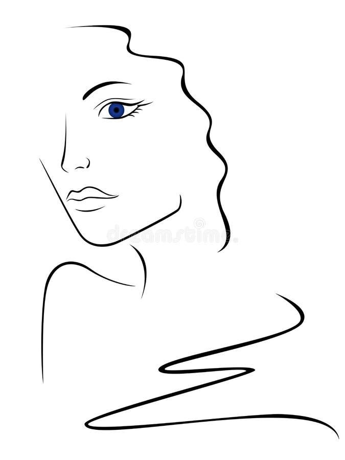 Contorno di schizzo della testa della donna illustrazione vettoriale