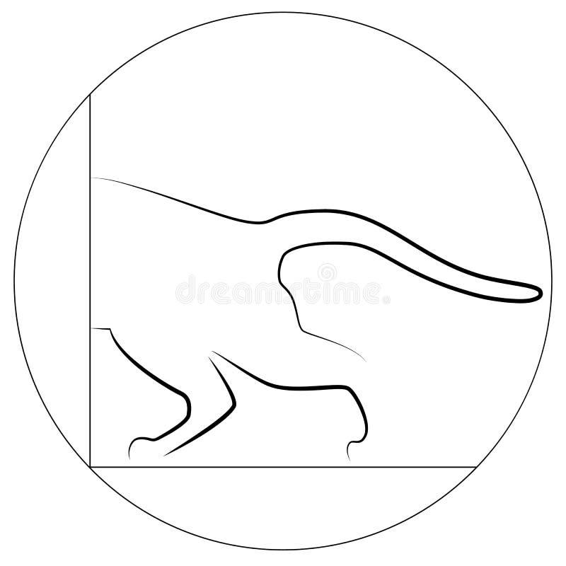 Contorno di un gatto, gatto mezzo con una coda illustrazione di stock