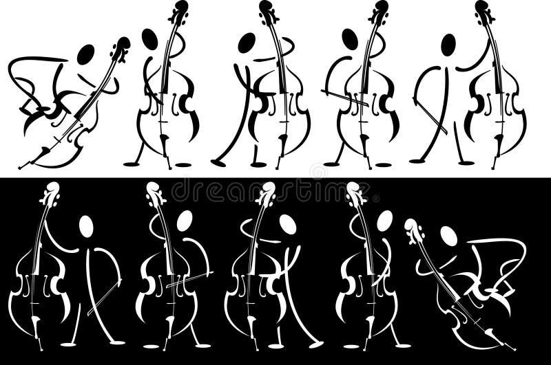 Contorno do músico que joga no instrumento ilustração stock