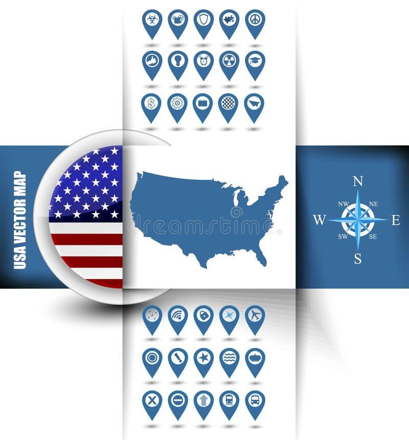 Contorno do mapa dos EUA com ícones de GPS ilustração royalty free