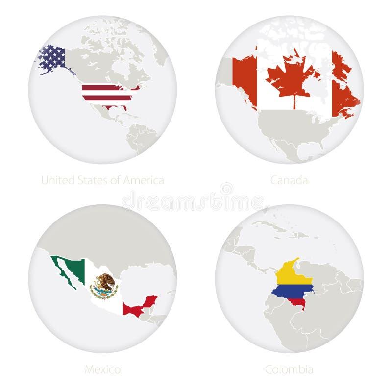 Contorno do mapa do Estados Unidos da América, do Canadá, do México, da Colômbia e bandeira nacional em um círculo ilustração royalty free