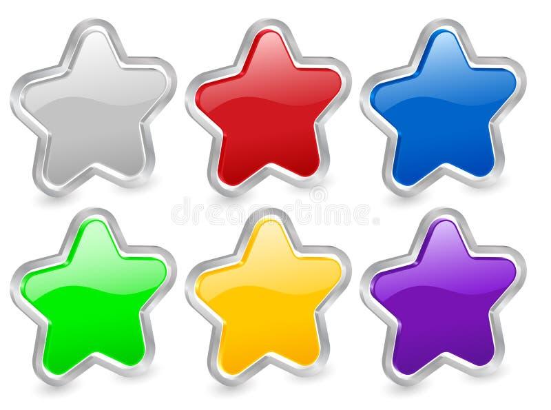 contorno do metal dos ícones da estrela 3d ilustração do vetor