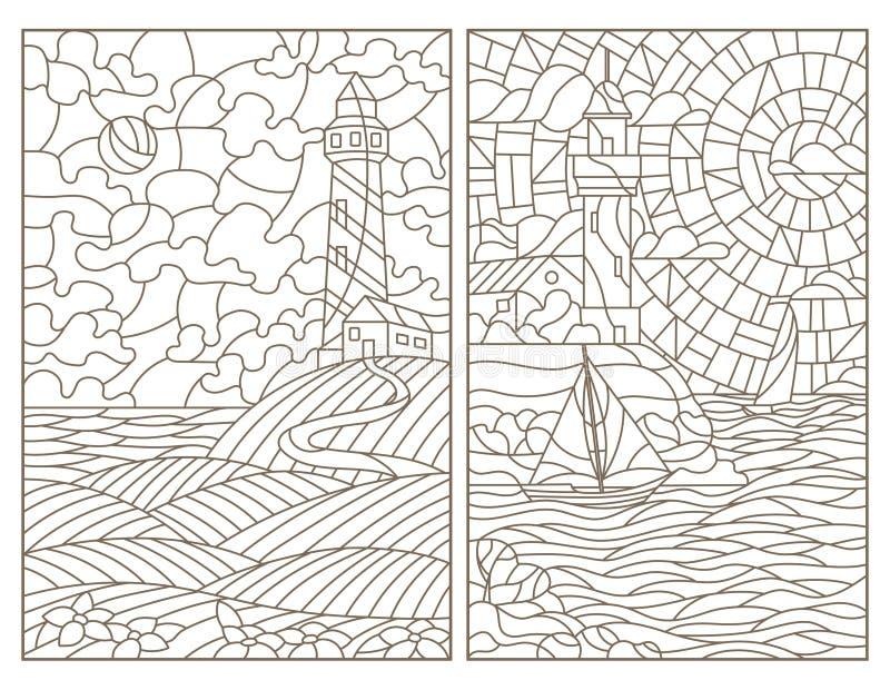 Contorno fijado con los ejemplos de los paisajes marinos, de los faros y de las naves del vitral stock de ilustración