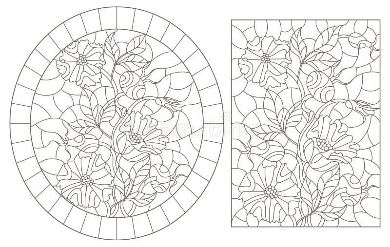 Contorno fijado con los ejemplos de vitrales con las flores y las bayas de los escaramujos, contornos oscuros en un backgroun bla libre illustration