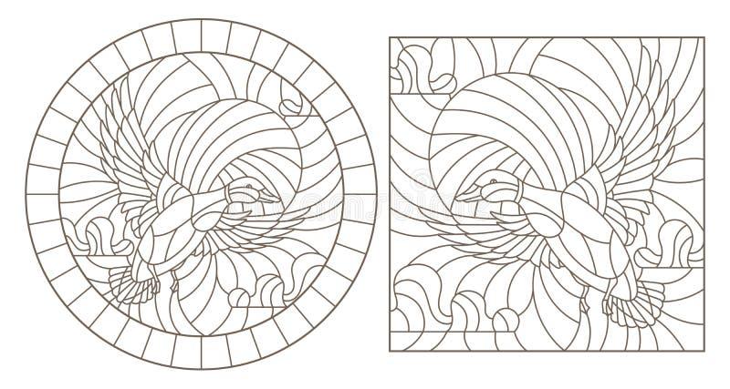 Contorno fissato con le illustrazioni delle anatre volanti contro il cielo, contorni scuri del vetro macchiato su un fondo bianco illustrazione di stock