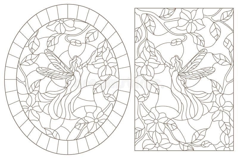 Contorno fissato con le illustrazioni di vetro macchiato Windows con i fatati su un fondo dei colori, contorni scuri su un backgr royalty illustrazione gratis